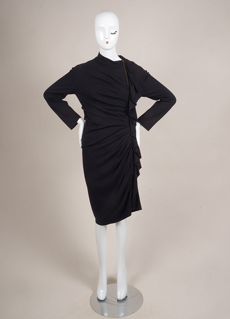 Lanvin Navy Blue Wool and Cashmere Ruffle Zip Long Sleeve Sweater Dress Frontview