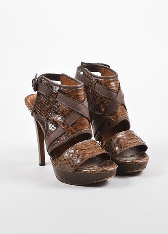 Lanvin Brown Snakeskin Crisscross Strap Platform Sandals  Frontview
