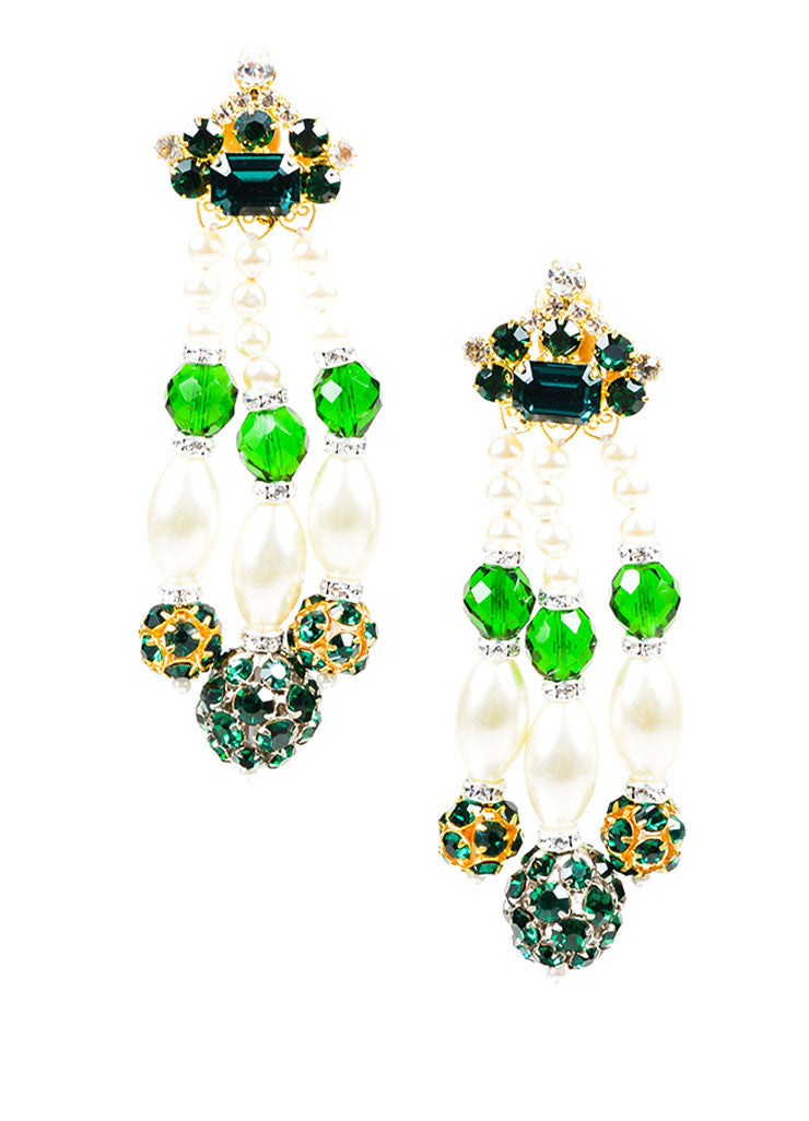 Green Lawrence VRBA Rhinestone Beaded Faux Pearl Dangle Clip On Earrings
