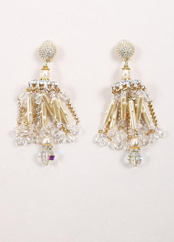 Lawrence Vrba Gold Toned and Cream Faux Pearl Rhinestone Chandelier Earrings Frontview