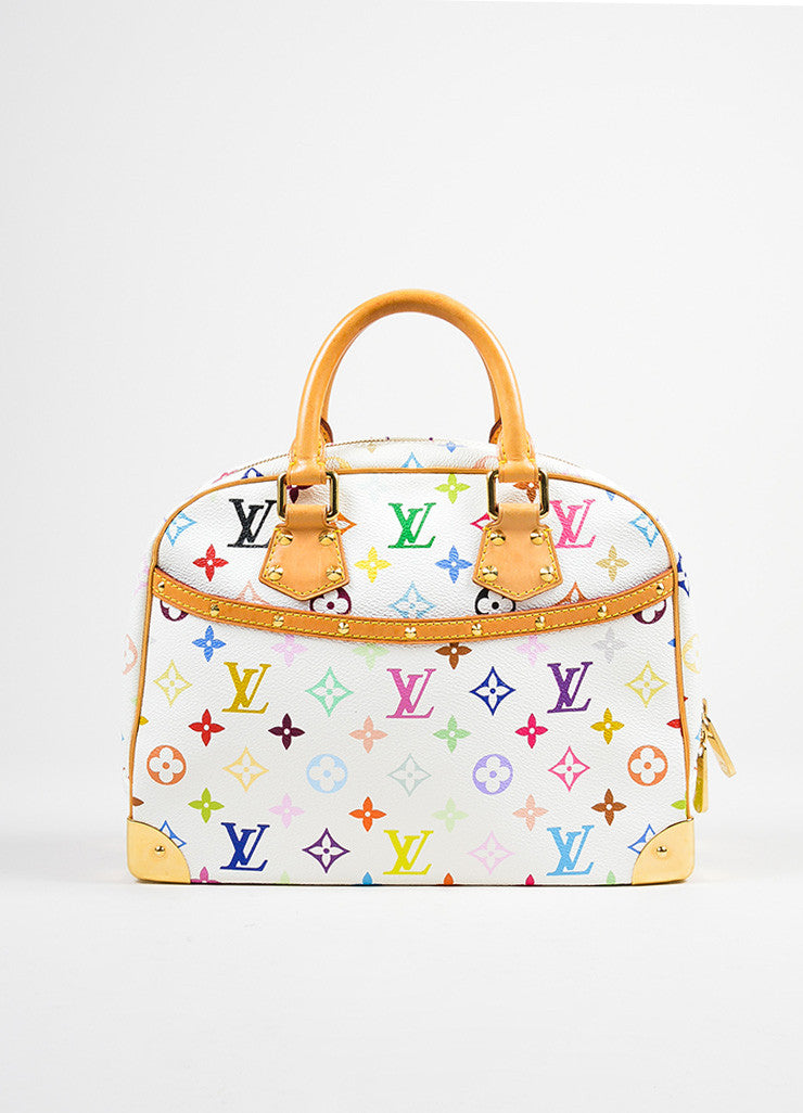 "White and Multicolor Louis Vuitton Coated Canvas Monogram ""Trouville"" Handbag Frontview"