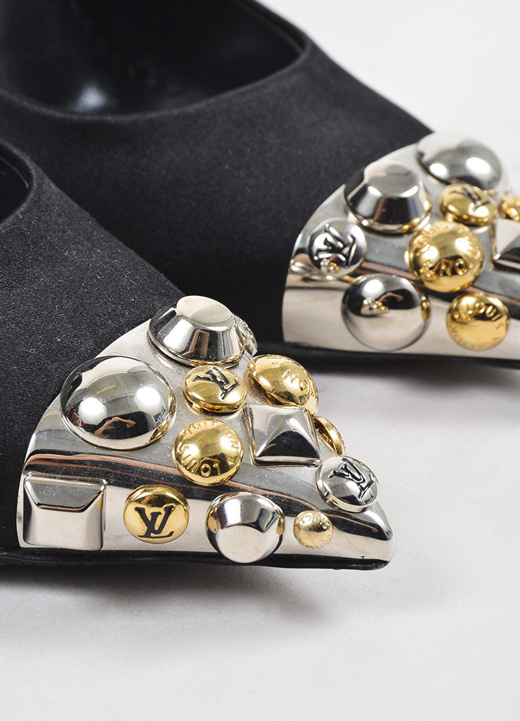 Louis Vuitton Black Silver and Gold Toned Satin Studded Pointed Cap Toe Pumps Detail