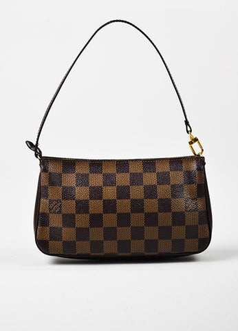 "Louis Vuitton Brown ""Damier"" Canvas Leather ""Trousse Accessoires Pochette"" Bag Frontview"