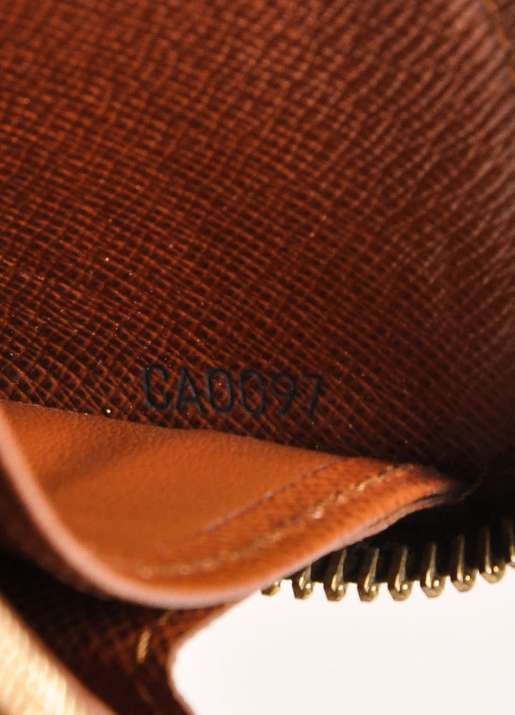 Louis Vuitton Brown and Tan Coated Canvas Monogram Rectangular Zip Wallet Serial