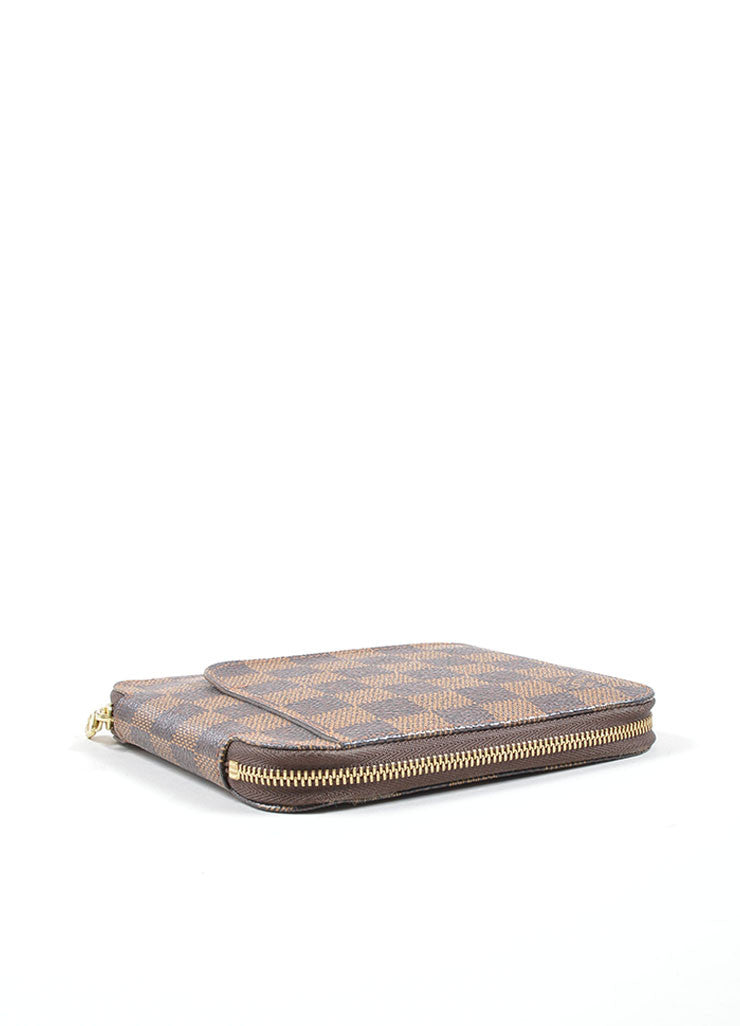 "Louis Vuitton Brown and Tan ""Ebene"" Coated Canvas Damier ""Olav"" Organizer Wallet Sideview"