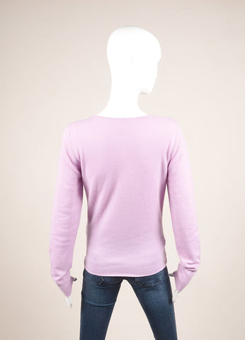 Lucien Pellat-Finet New With Tags Lavender Purple Cashmere Skull Sweater Backview