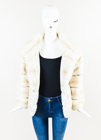 MR3 Cream and Grey Fur High Collar Crop Coat Frontview