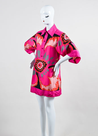 Pink and Multicolor M Missoni Silk Printed Short Sleeve Popover Tunic Shirt Dress