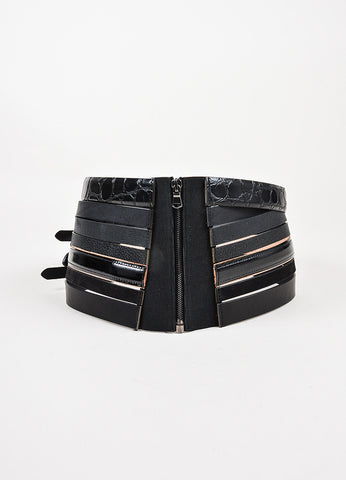 Maison Martin Margiela Black Multi Leather Strip Buckle Wide Waist Belt detail