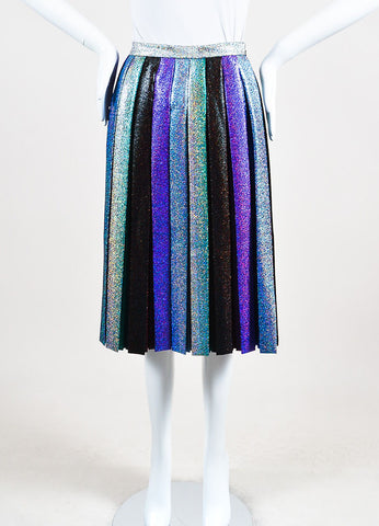 Marco de Vincenzo Rainbow Multicolor Glittered Pleated Midi Length Skirt Frontview