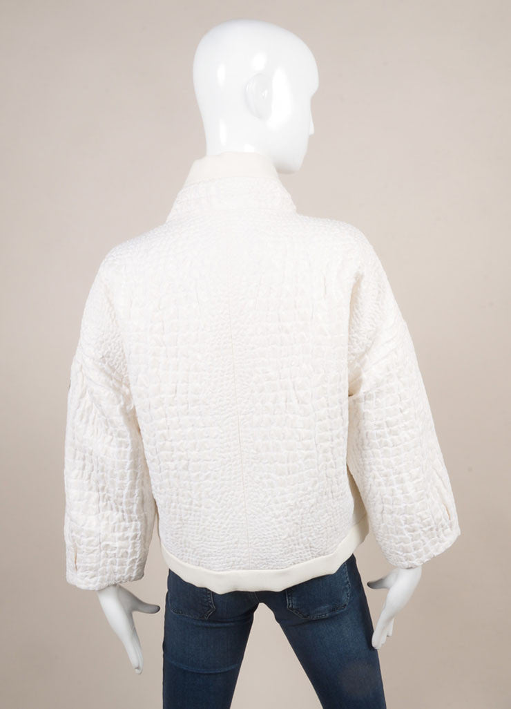 "Moncler New With Tags White Fur and Croc Embossed Down Cropped ""Audrey"" Jacket Backview"