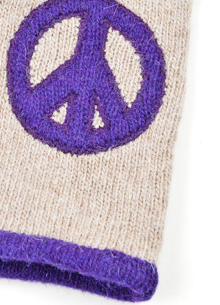 Grey and Purple Moschino Lambswool and Angora Blend Peace Sign Winter Gloves Detail