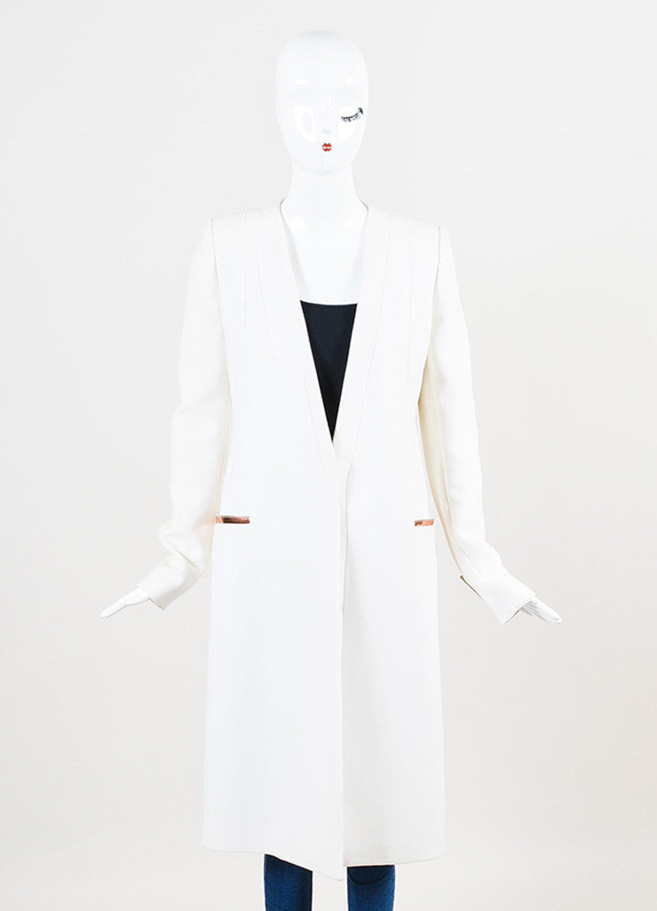 "Mugler White and ""Copper"" Virgin Wool Crepe Structured Midi Coat Frontview 2"