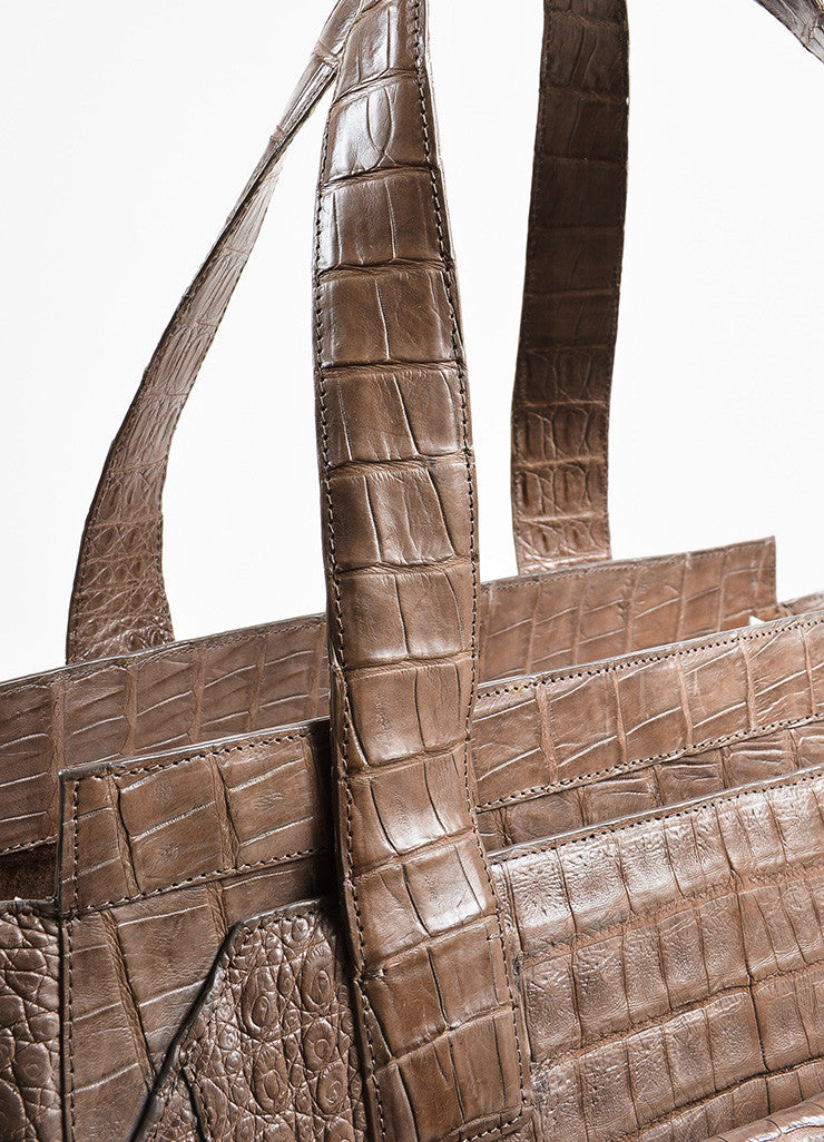 """Nut"" Taupe Nancy Gonzalez Crocodile Leather East West Tote Bag Detail 3"