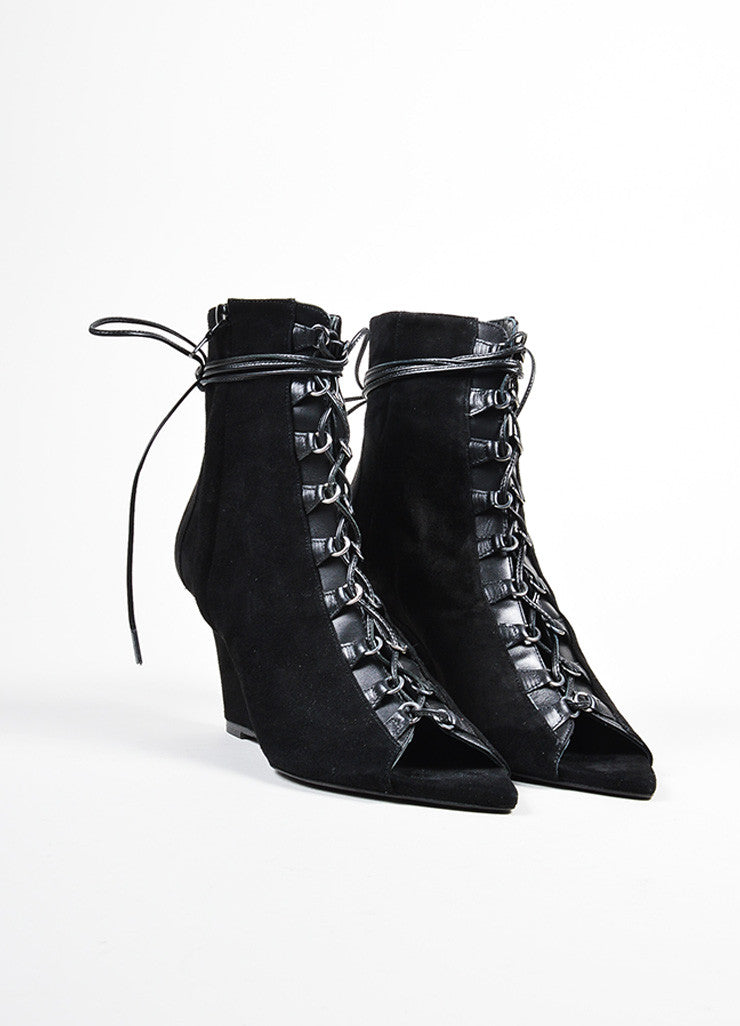 "Black Narciso Rodriguez Suede Leather Lace Up ""Deva"" Wedge Booties Frontview"