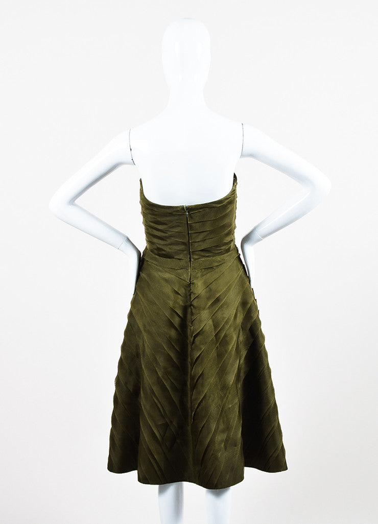 Oscar de la Renta Olive Green Silk Chiffon Tiered Pleated Strapless Dress Backview