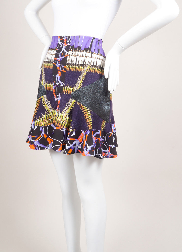 Peter Pilotto New With Tags Purple and Black Abstract Figure Printed Flounce Skirt Sideview