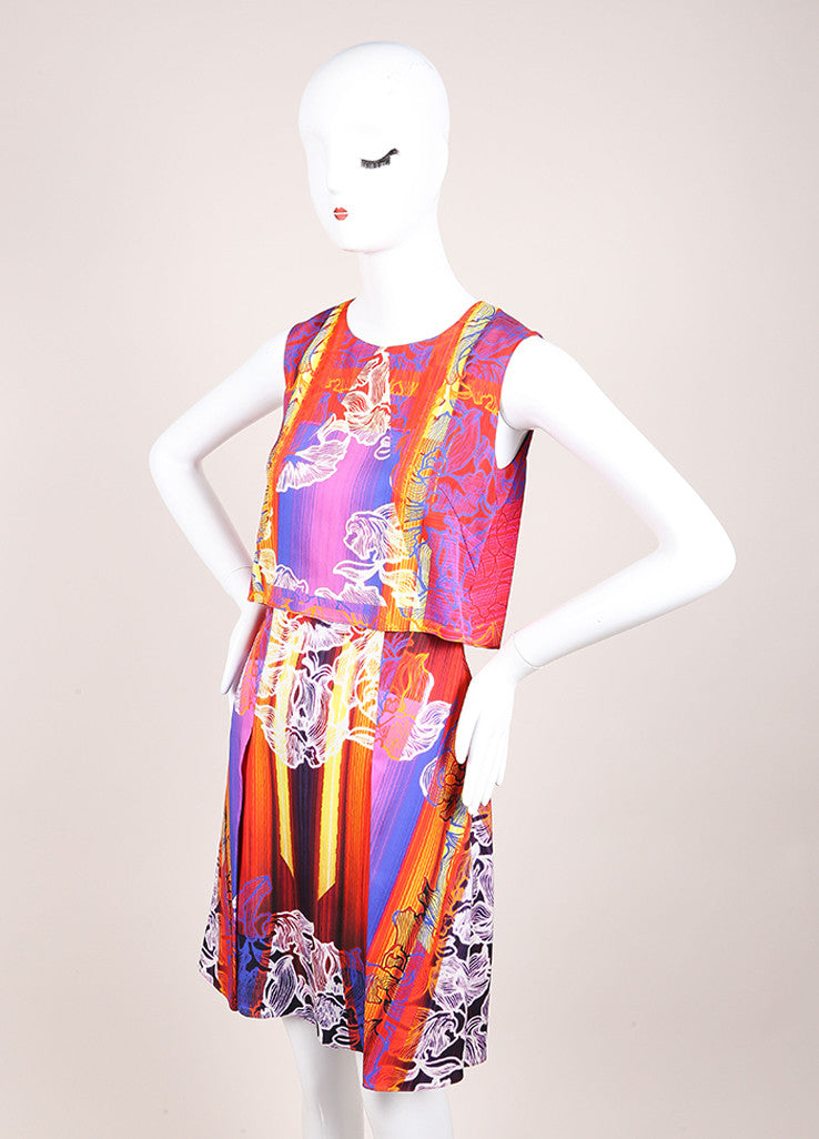 "Peter Pilotto New With Tags Red and Blue Silk Floral Stripe Sleeveless ""MT"" Dress Sideview"