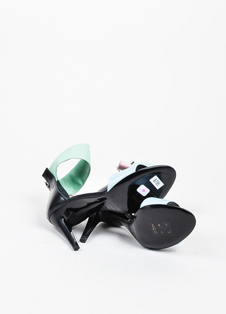 Black and Pastel Multicolor Pierre Hardy Leather High Heeled Sandals Outsoles