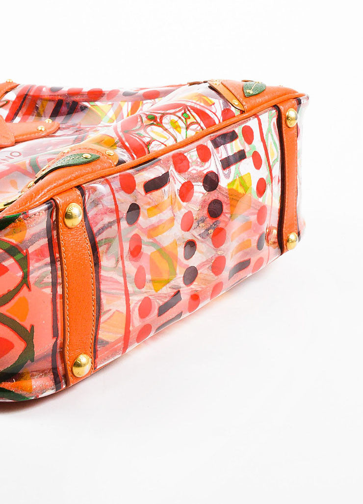 "Orange and Multicolor Prada Leather and PVC Floral Crossbody ""Plex Stampato"" Tote Bag Bottom View"