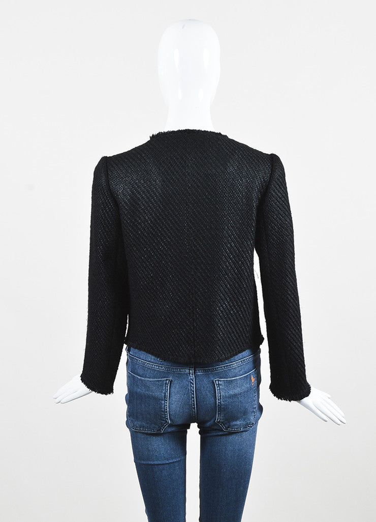 Prada Black Wool Woven Knit Leather Trim Fringe Blazer Jacket Backview