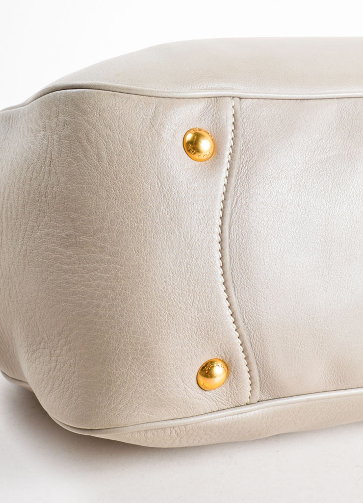 Prada Grey and Gold Toned Leather Top Handle Bag Detail