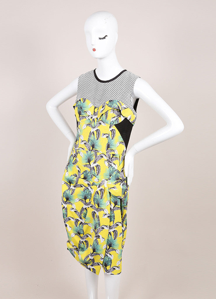 Proenza Schouler Yellow, Black, and Multicolor Tropical Print Sleeveless Neoprene Wrap Dress Sideview
