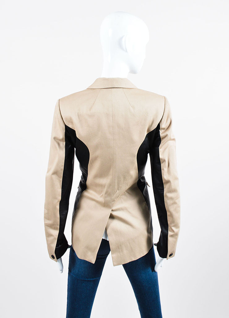 "Tan and Black Rag & Bone ""Jefferson"" Cotton and Leather Contrast Blazer Backview"