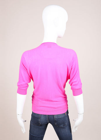 Ralph Lauren Black Label Hot Pink Cashmere Crop Sleeve Sweater Cardigan Backview