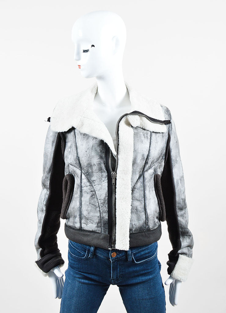 Grey Rick Owens Distressed Leather Knit Cropped Biker Jacket Frontview