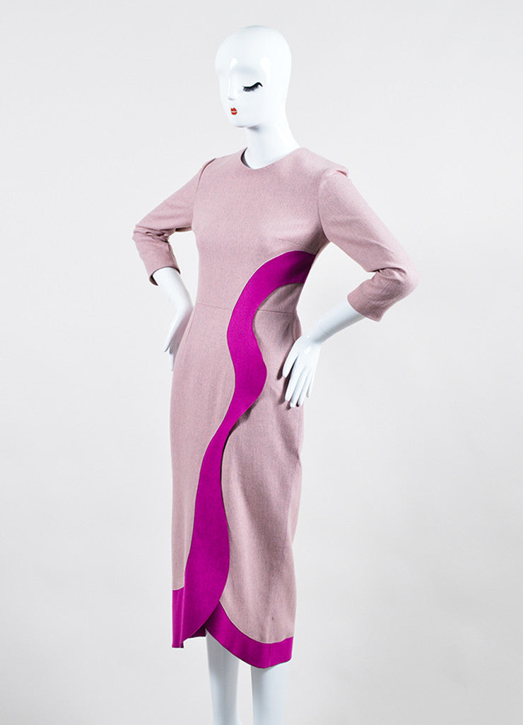 "Pink Roksanda Wool Ruffle ""Marsta"" Three Quarter Sleeve Dress Front"