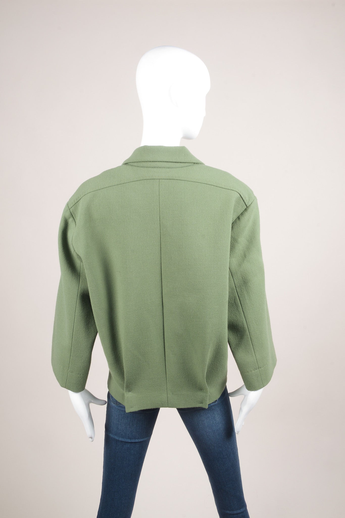 Roland Mouret Green Wool Knit Magnetic Button Oversized Jacket Backview
