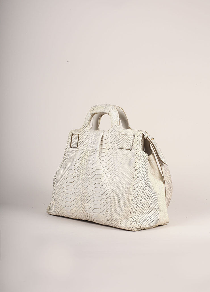 Salvatore Ferragamo Cream Snakeskin Leather Top Handle Tote Bag Sideview