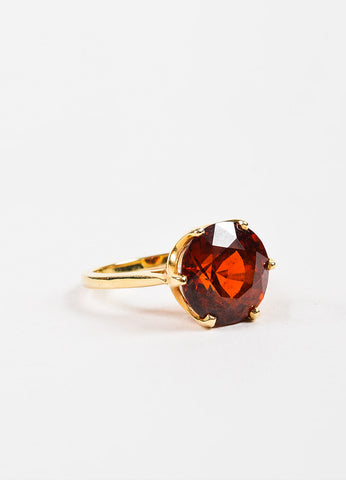 Sydel & Sydel Jewelry 14K Yellow Gold and Round Garnet Stone Solitaire Ring Sideview