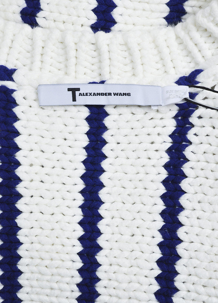 Cream and Navy T by Alexander Wang Chunky Knit Striped Sweater Brand