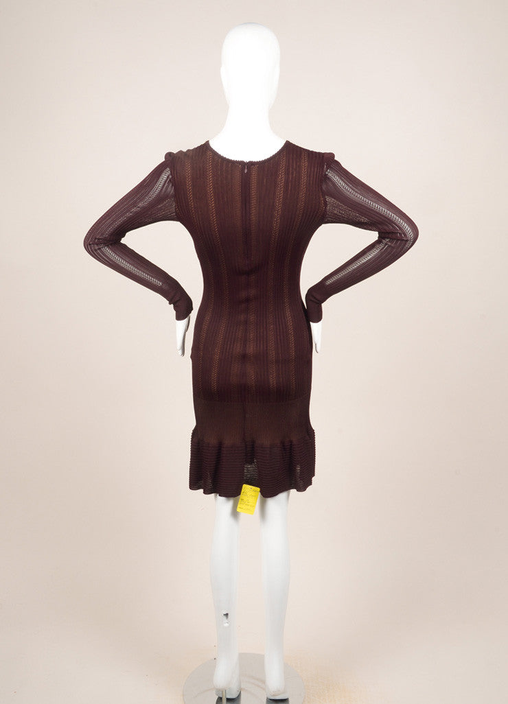Alaia Burgundy Knit Long Sleeve Stretch Flounce Dress Backview