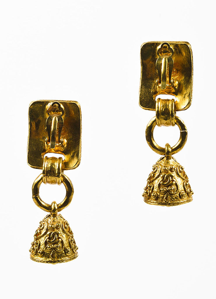 Gold Toned Chanel Beaded Texture 'CC' Logo Bell Clip On Drop Earrings Backview