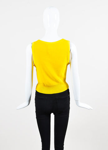 Chanel Canary Yellow Ribbed Knit Scoop Neck Sweater Vest Backview