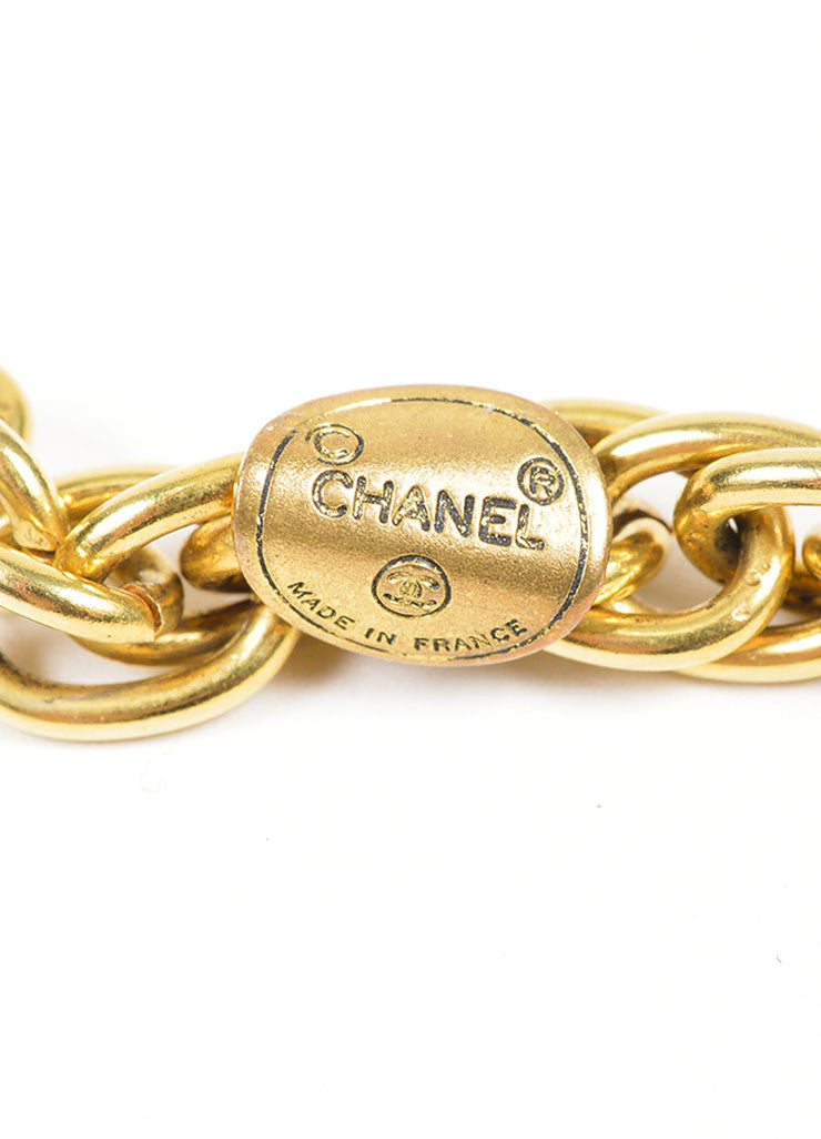 Gold Toned Chanel 'CC' Oval Pendant Chain Necklace Brand