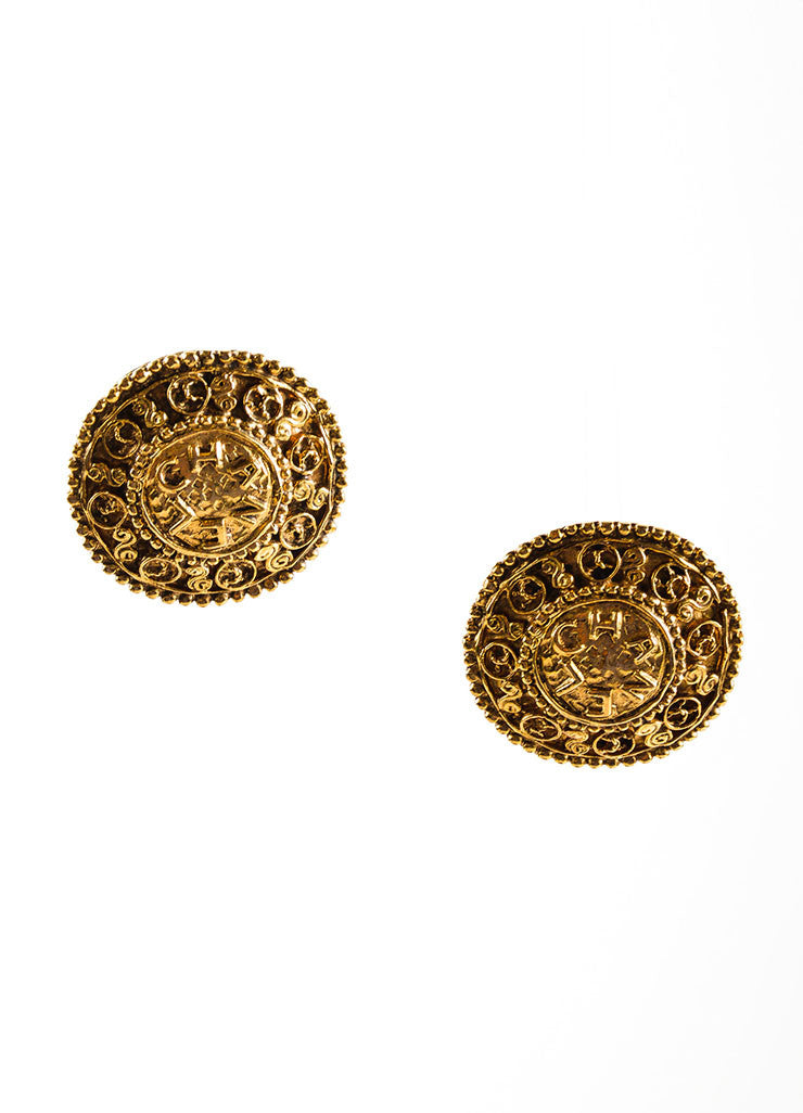 "Gold Toned ""CHANEL"" CC Logo Medallion Button Earrings Frontview"