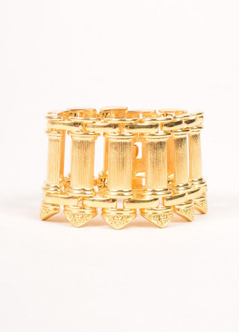 Kenneth Jay Lane Gold Toned Pillar Bracelet Frontview