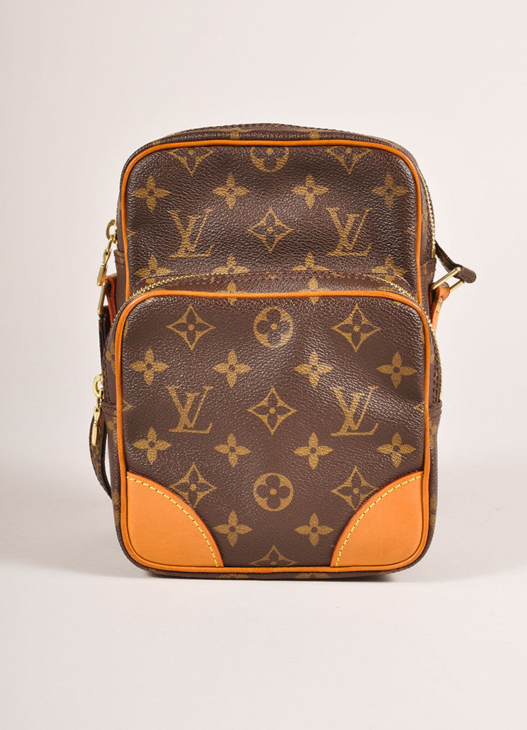 "Brown Monogram Canvas ""Amazone"" Crossbody Messenger Bag"