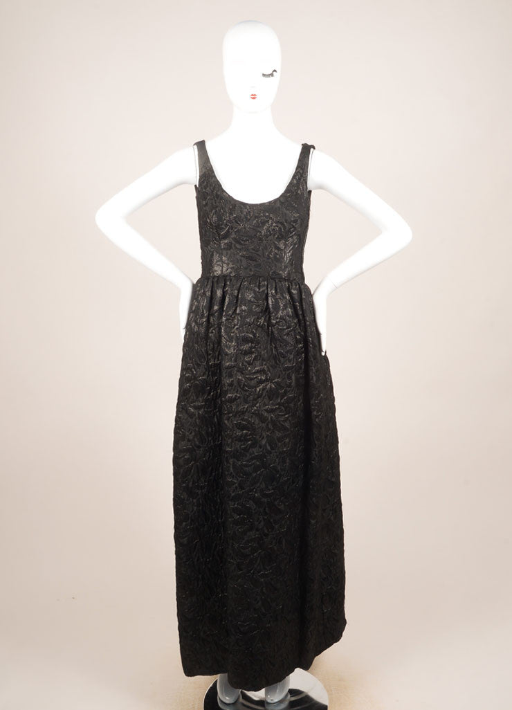 Norman Norell Black Textured Brocade Full Length Sleeveless Gown Frontview