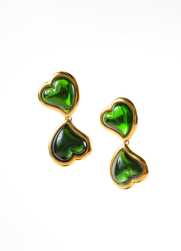 Yves Saint Laurent Gold Toned and Green Glass Double Heart Earrings Frontview