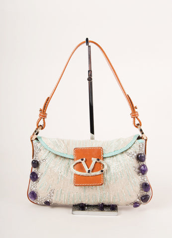 Valentino Brown, White, and Purple Leather Trim Sequin Beaded Embellished Flap Bag Frontview