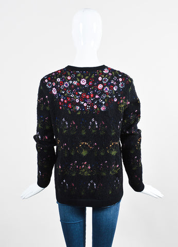 "Black and Multicolor Valentino Floral ""Primavera"" Pullover Sweater Backview"