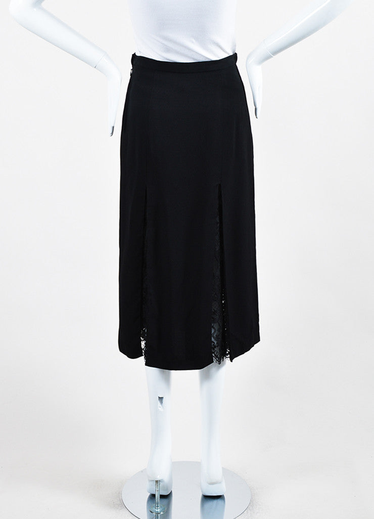 Wes Gordon Black Crepe Sheer Lace Paneled and Layered Slit Midi Skirt Backview