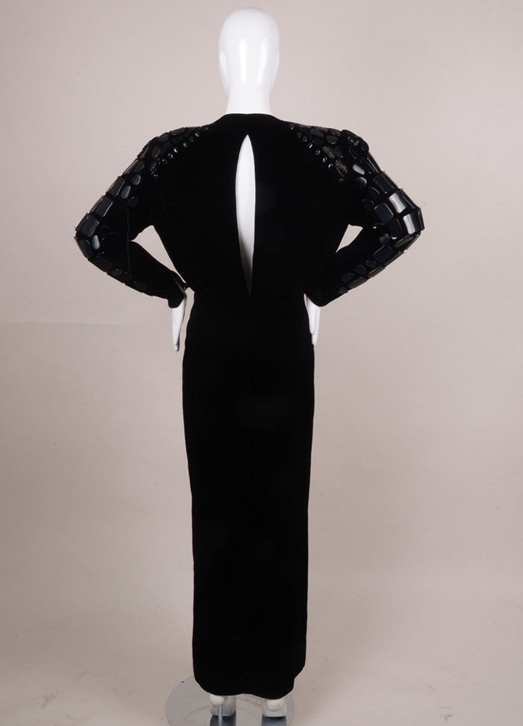 Black Velvet Bead Embellished Long Sleeve Gown