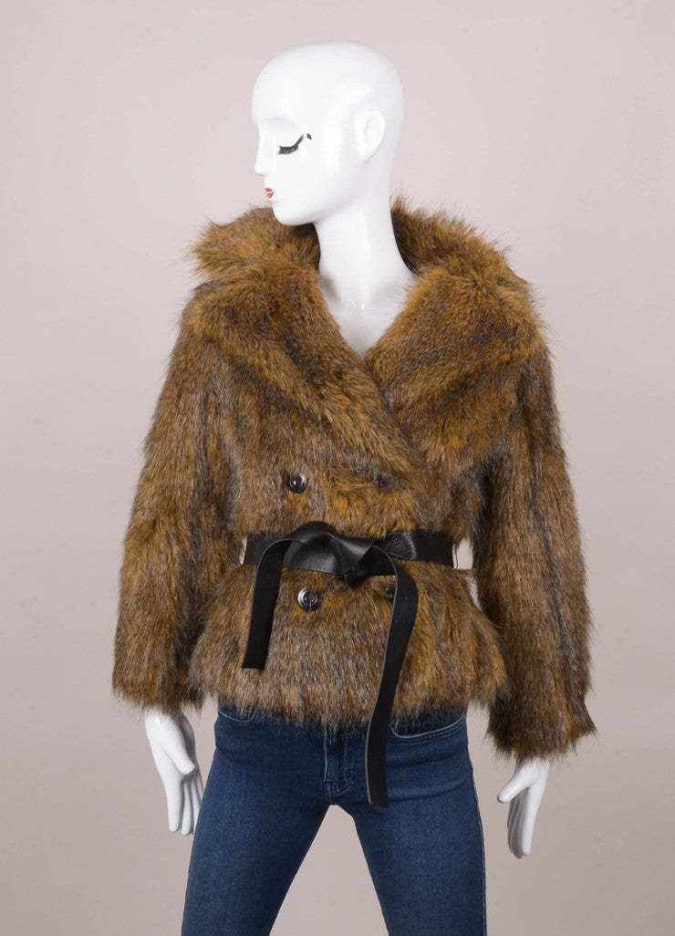 Brown Rachel Zoe Faux Fur Jacket With Tie Belt