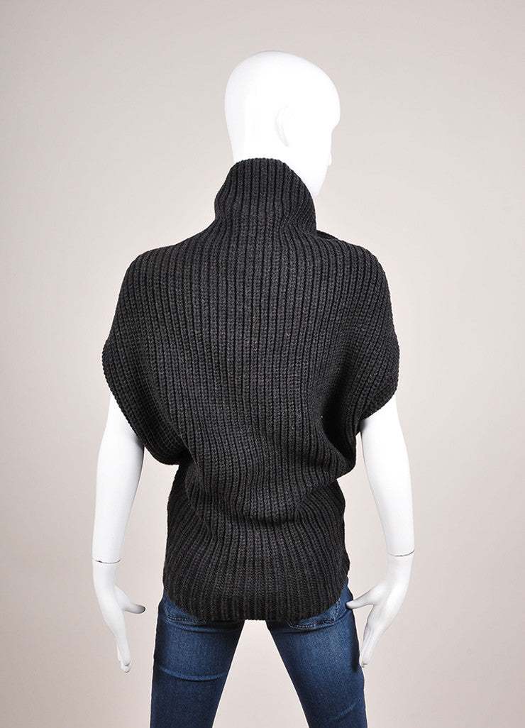 3.1 Phillip Lim Charcoal Grey Wool Blend Cocoon Sleeveless Sweater Backview